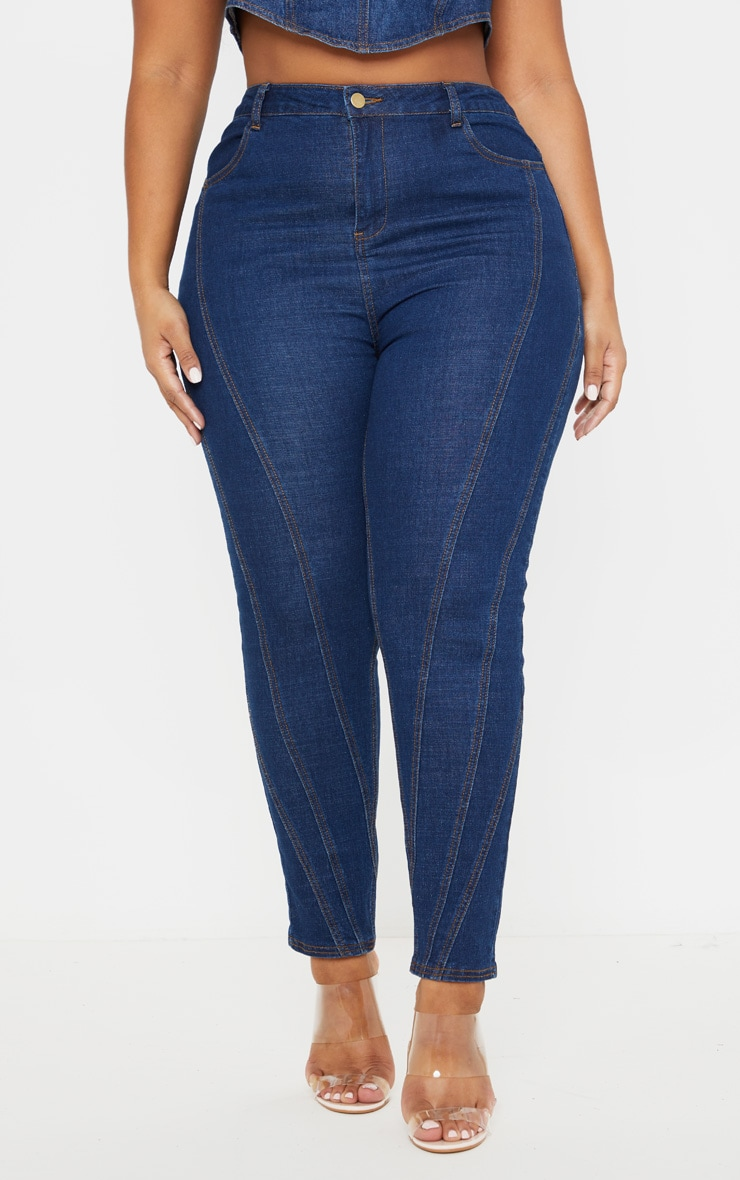 Plus Mid Wash Seam Detail Skinny Jeans 2