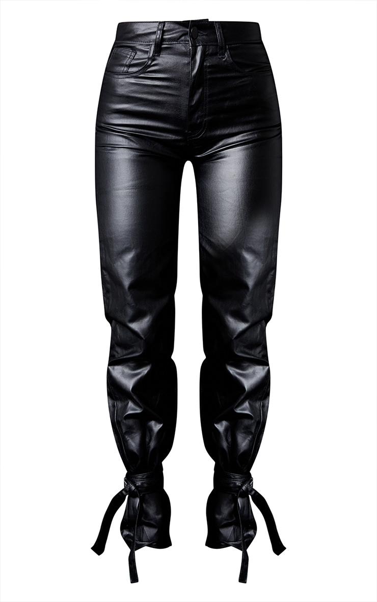 Black Tied Hem Coated Straight Leg Jean 5