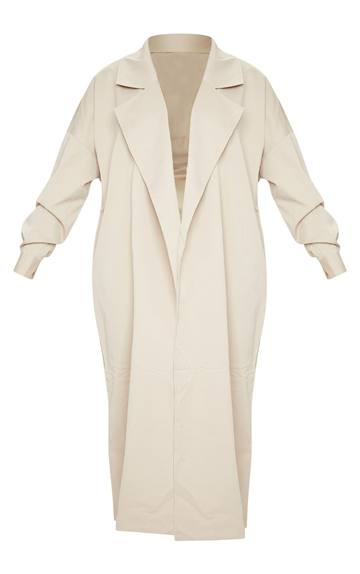 PRETTYLITTLETHING Stone Contrast Panel Trench Coat 5