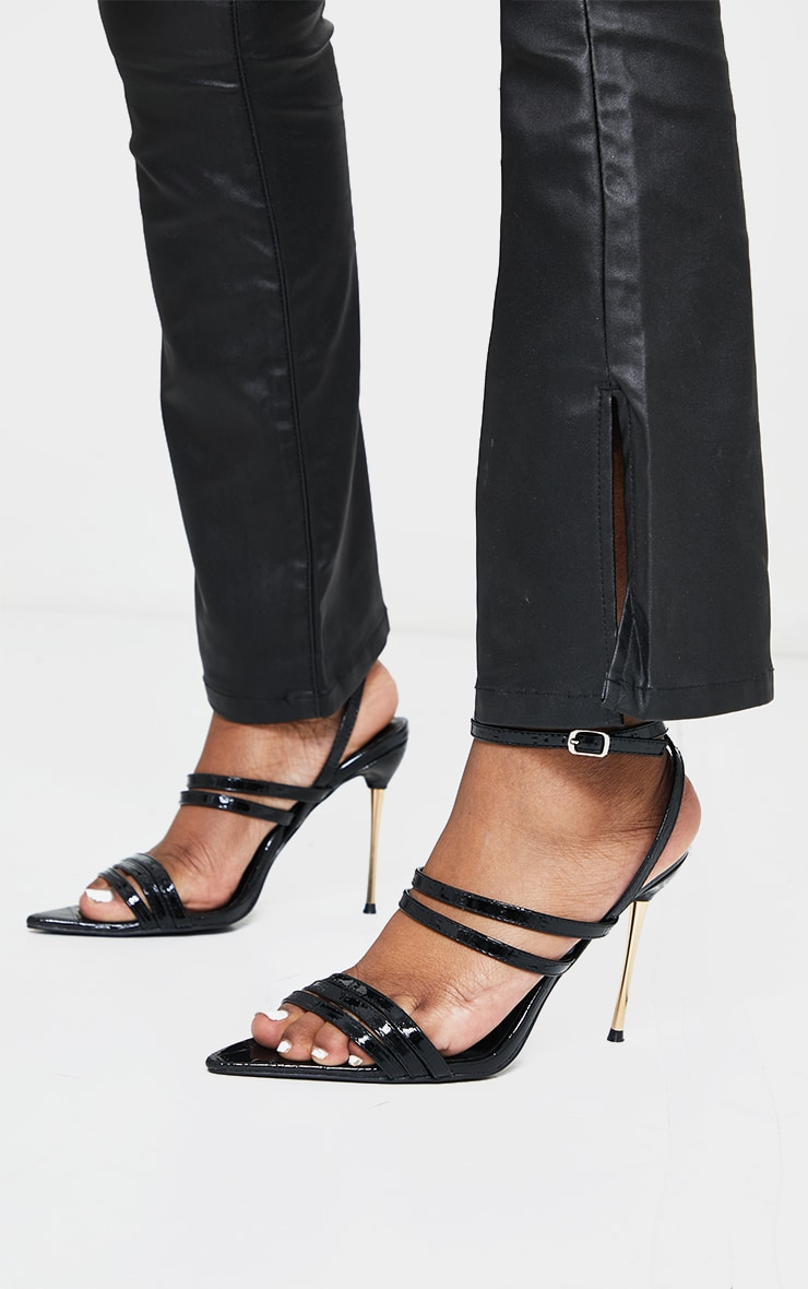 Black Point Toe Pin Heels Double Strap Heels Sandals 2