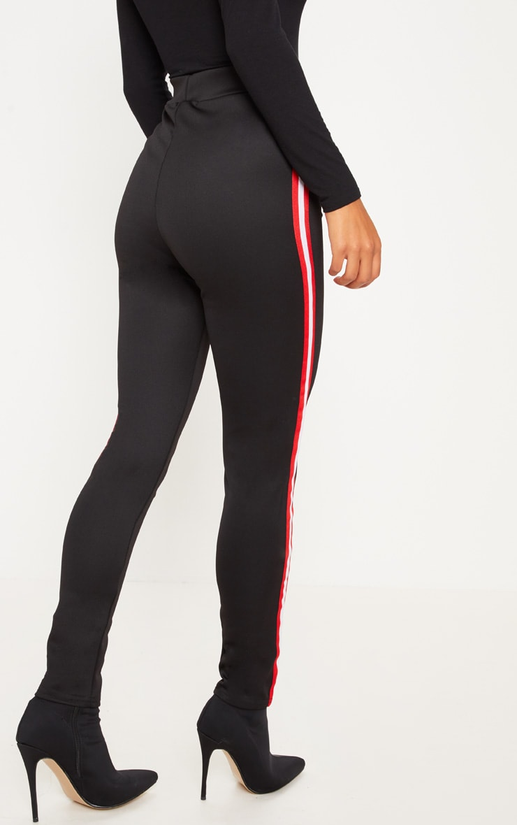 Black Sporty Stripe Leggings 4