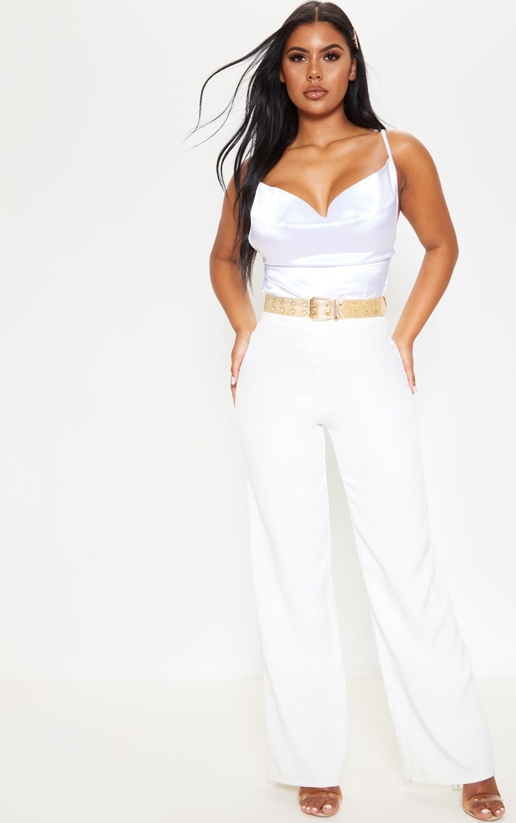 Ivory Satin Crop Cowl Neck Cami 4