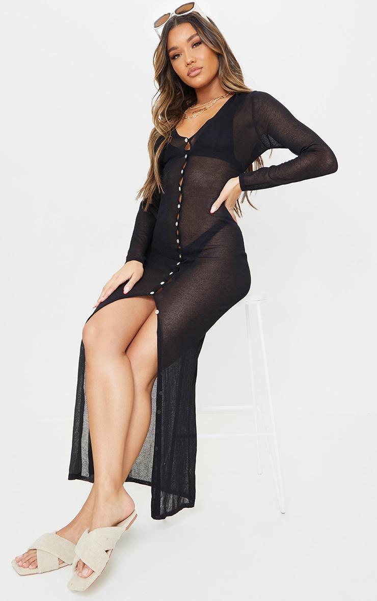 Black Sheer Knit Button Up Maxi Dress 1
