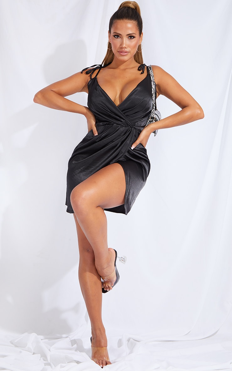 Shape Black Satin Tie Shoulder Wrap Bodycon Dress 3