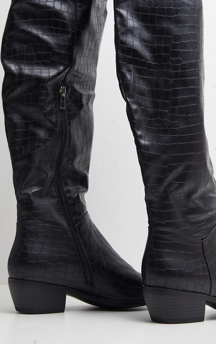 Black Croc Thigh High Western Boot 3