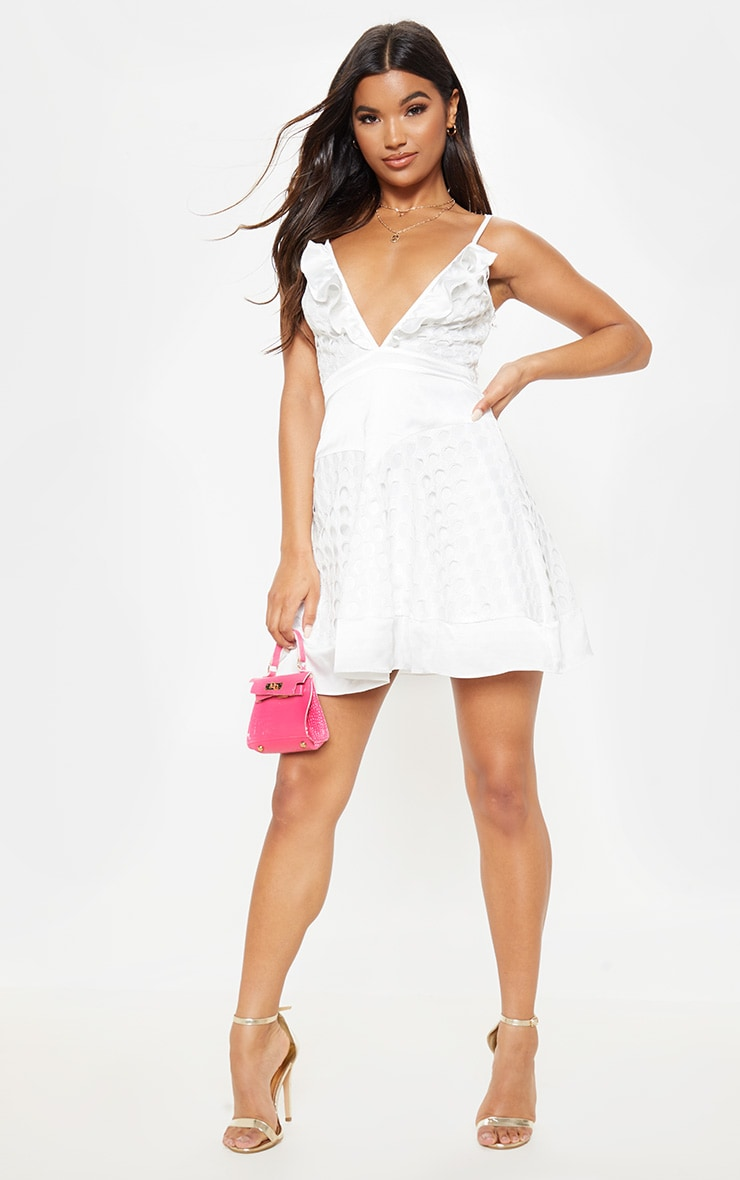 White Lace Strappy Skater Dress 1