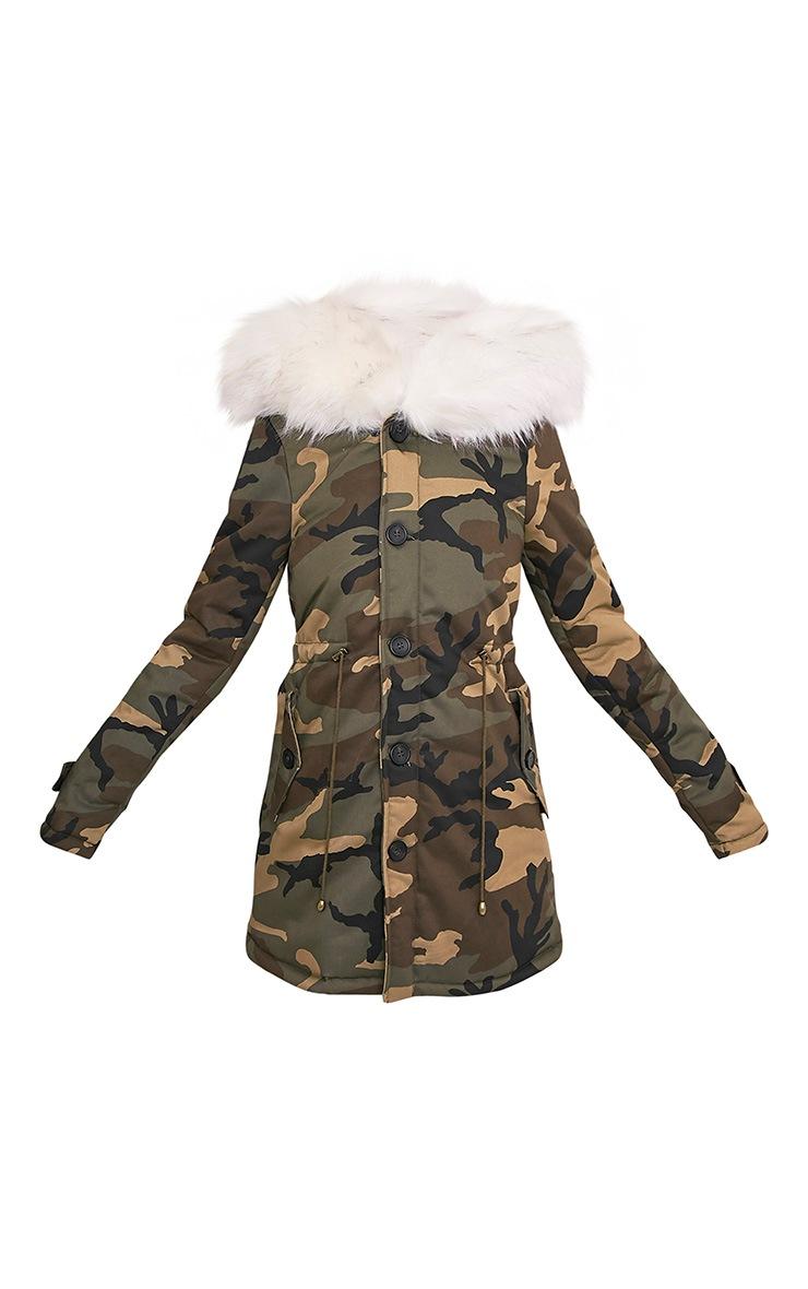Fliss Premium parka camouflage à doublure en fausse fourrure blanche 4