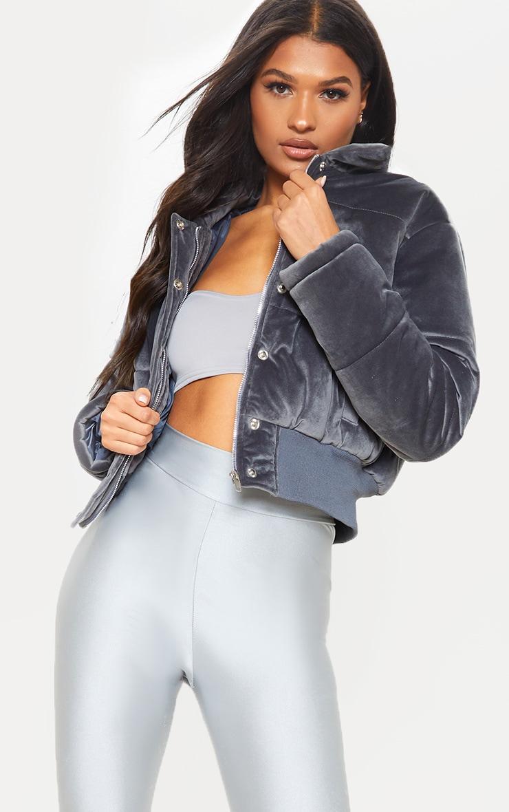 Velvet Grey Puffer 1