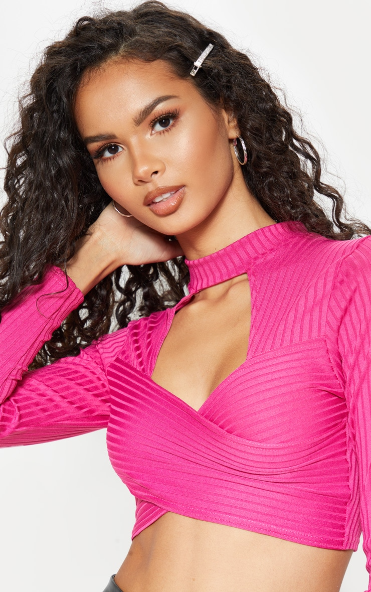 Hot Pink Bandage Cut Out Wrap Crop Top 5