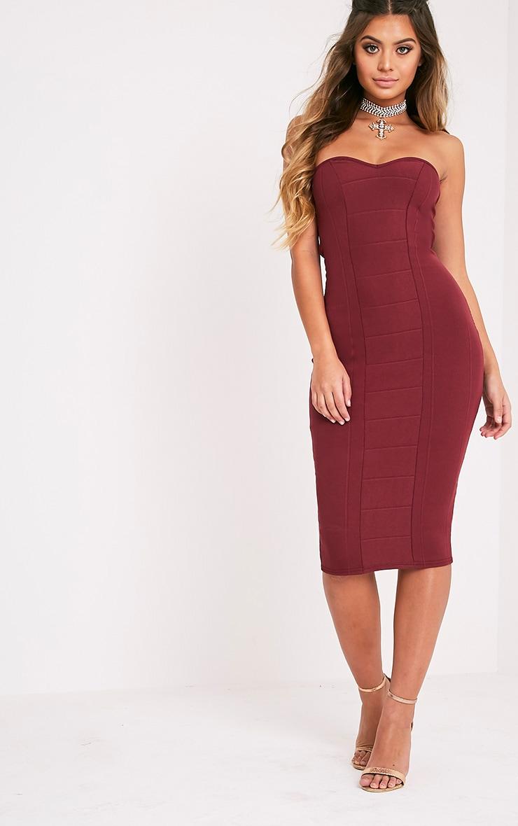 Burgundy Bandage Dress