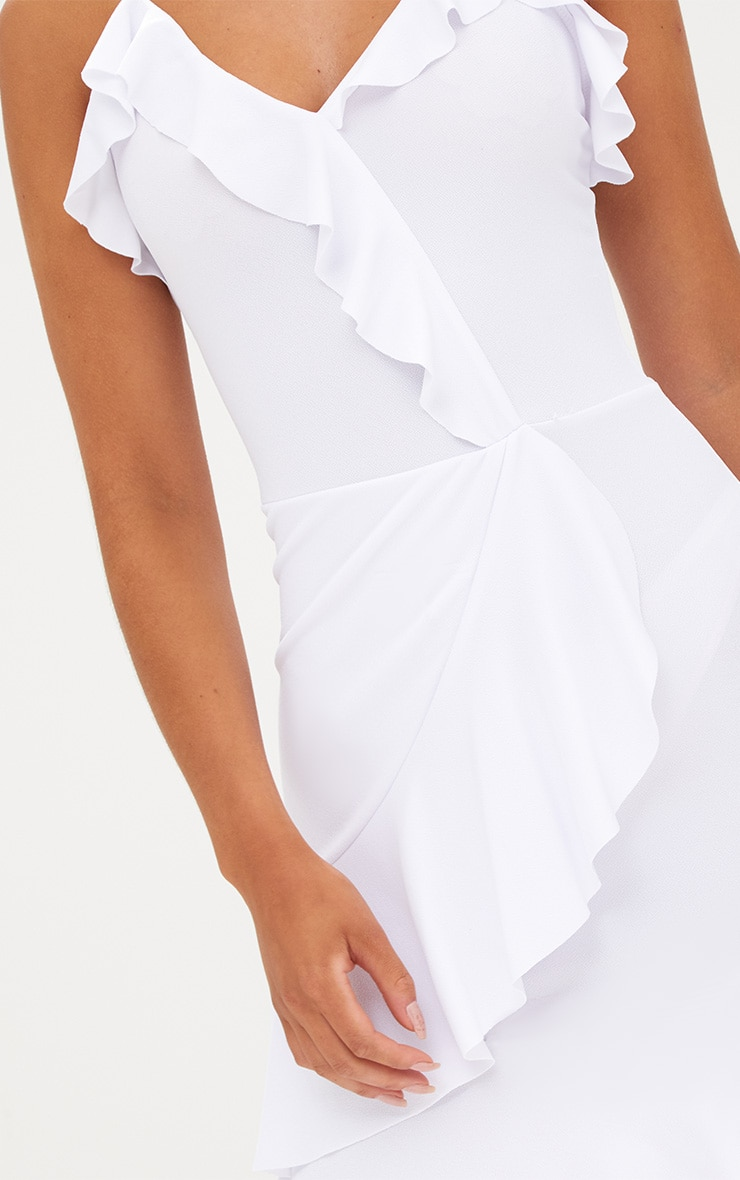 White Strappy Wrap Frill Detail Bodycon Dress 5