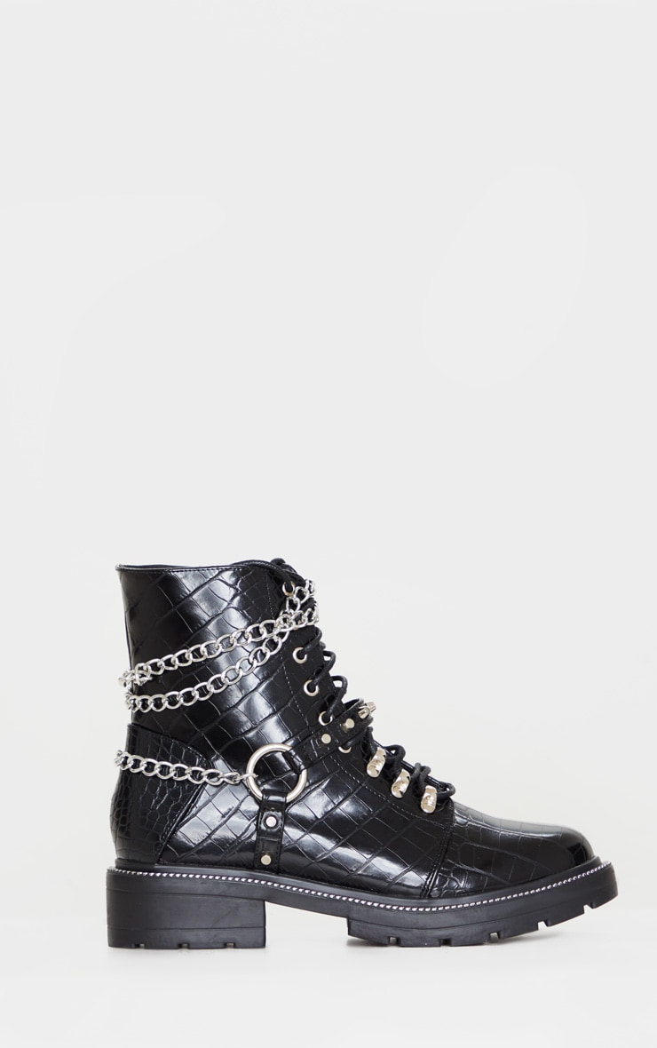 Black Chain Hiker Lace Up Ankle Boot 3