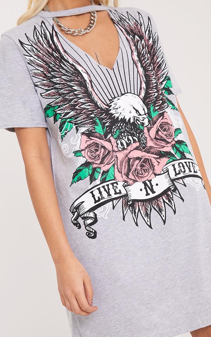 Live N Love Grey Choker Detail T Shirt Dress 4