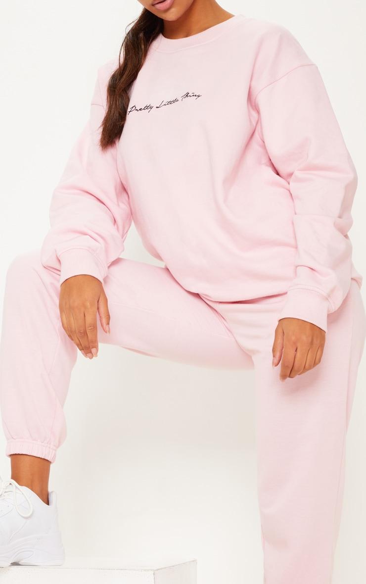 PRETTYLITTLETHING Recycled Baby Pink Oversized Sweatshirt 4