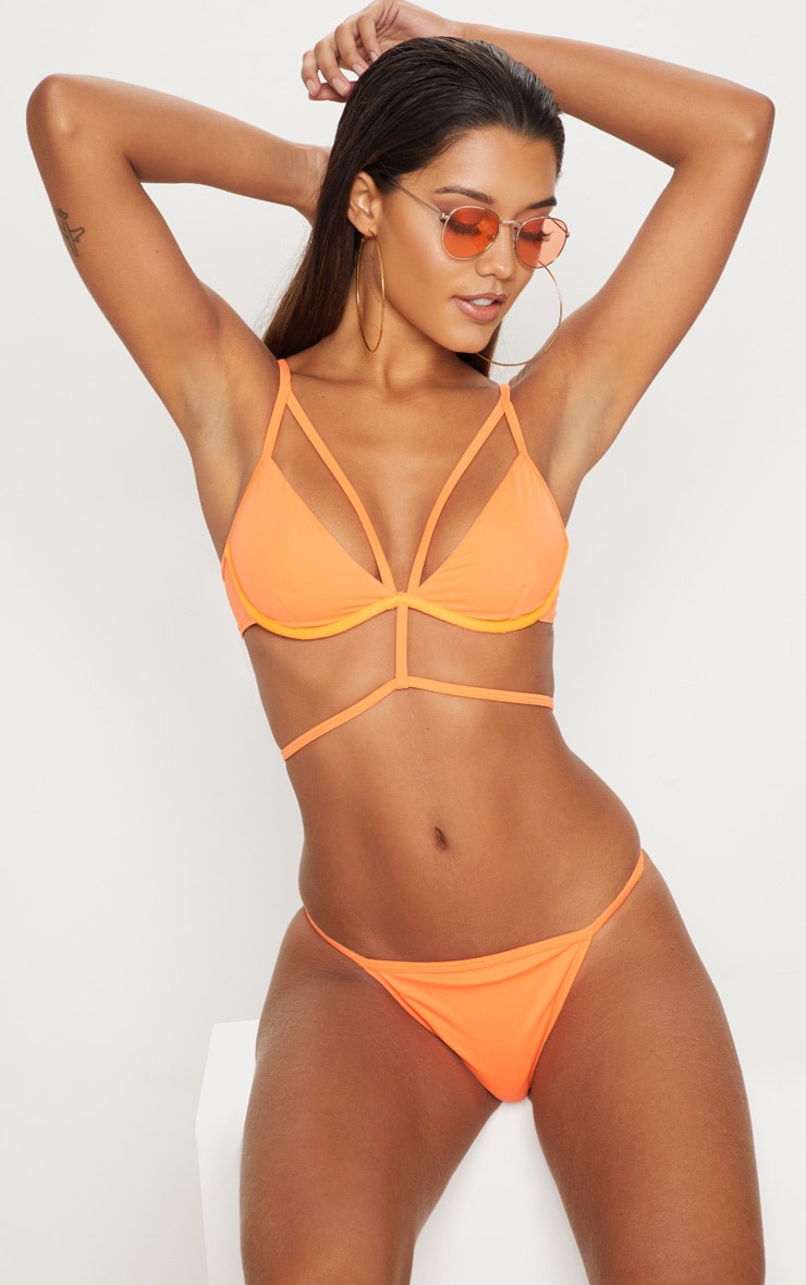 Orange Wired Harness Bikini Top 1