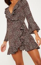 Chocolate Brown Polka Dot Leopard Print Frill Wrap Tea Dress 5