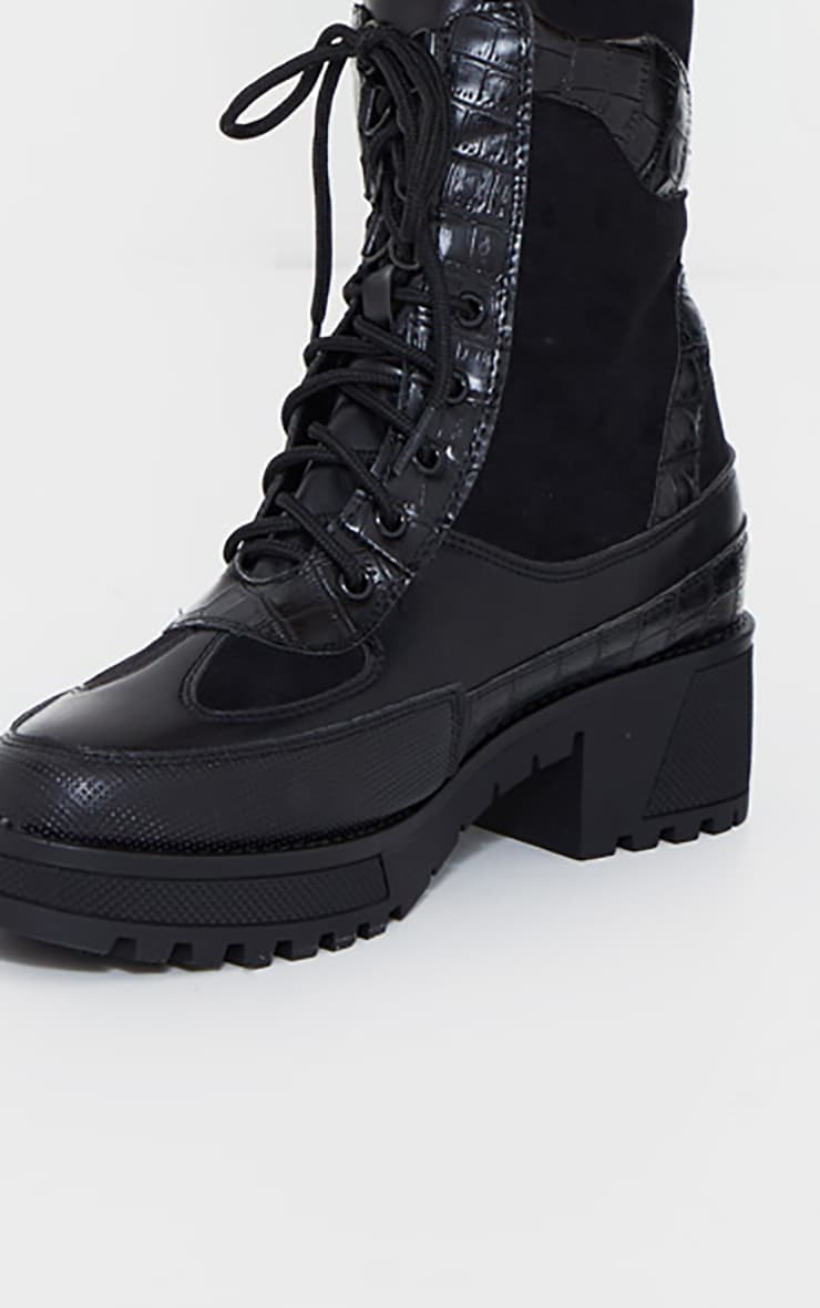 Black PU Lace Up Hiker Boots 4