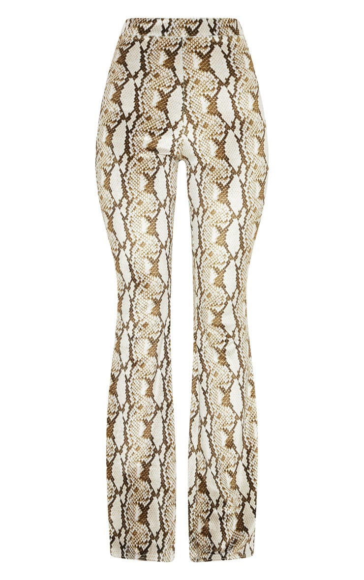 Cream Velvet Snake Flared Trouser 3