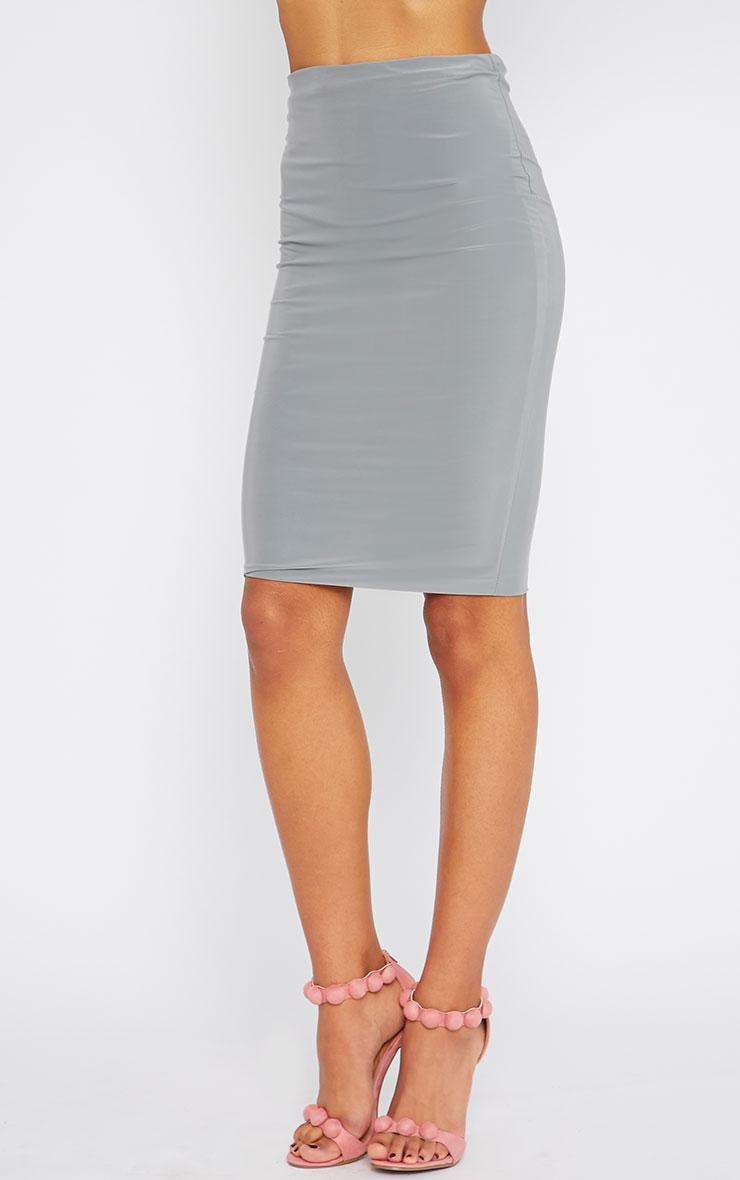 Arabella Grey Slinky Midi Skirt 3
