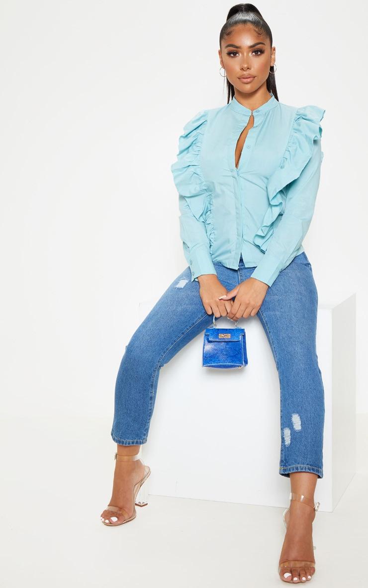 Petite Dusty Blue Frill Detail Long Sleeve Shirt  4