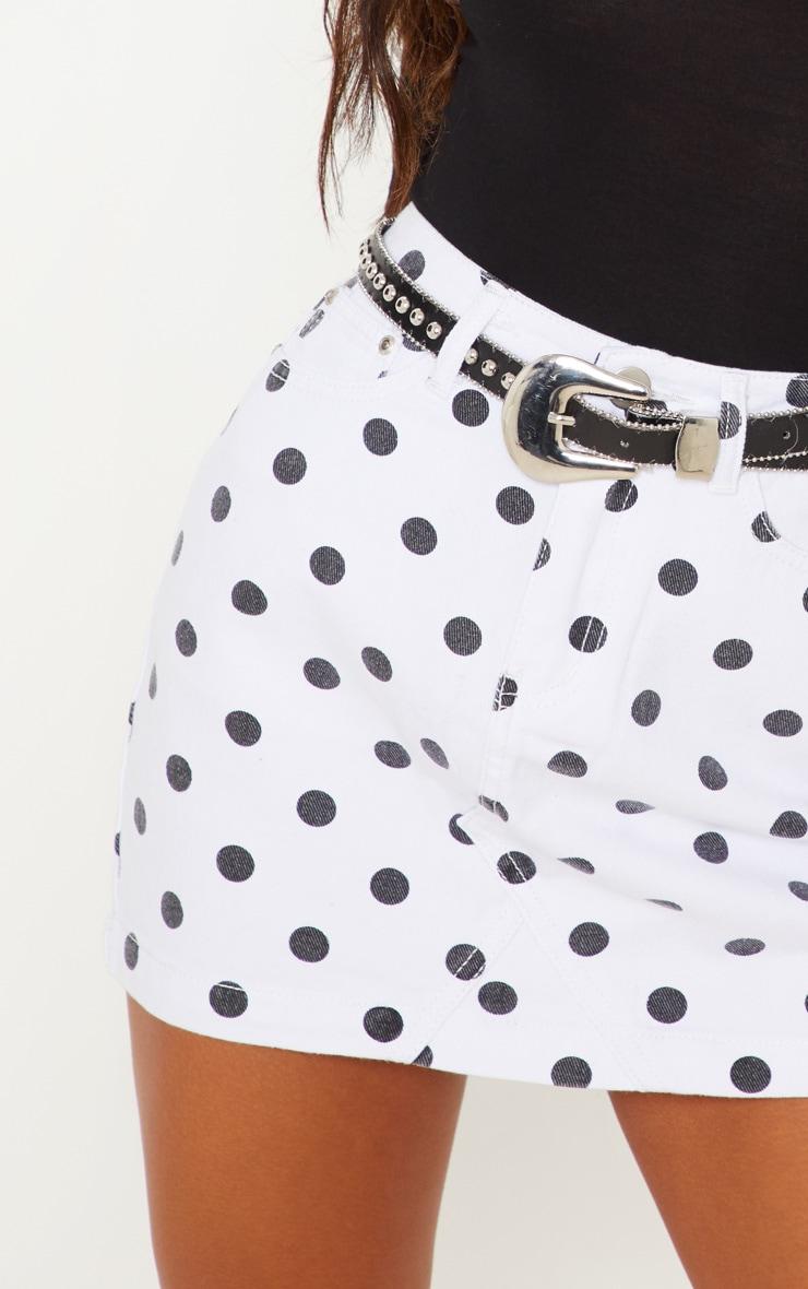 Monochrome Basic Spot Print Denim Skirt  6
