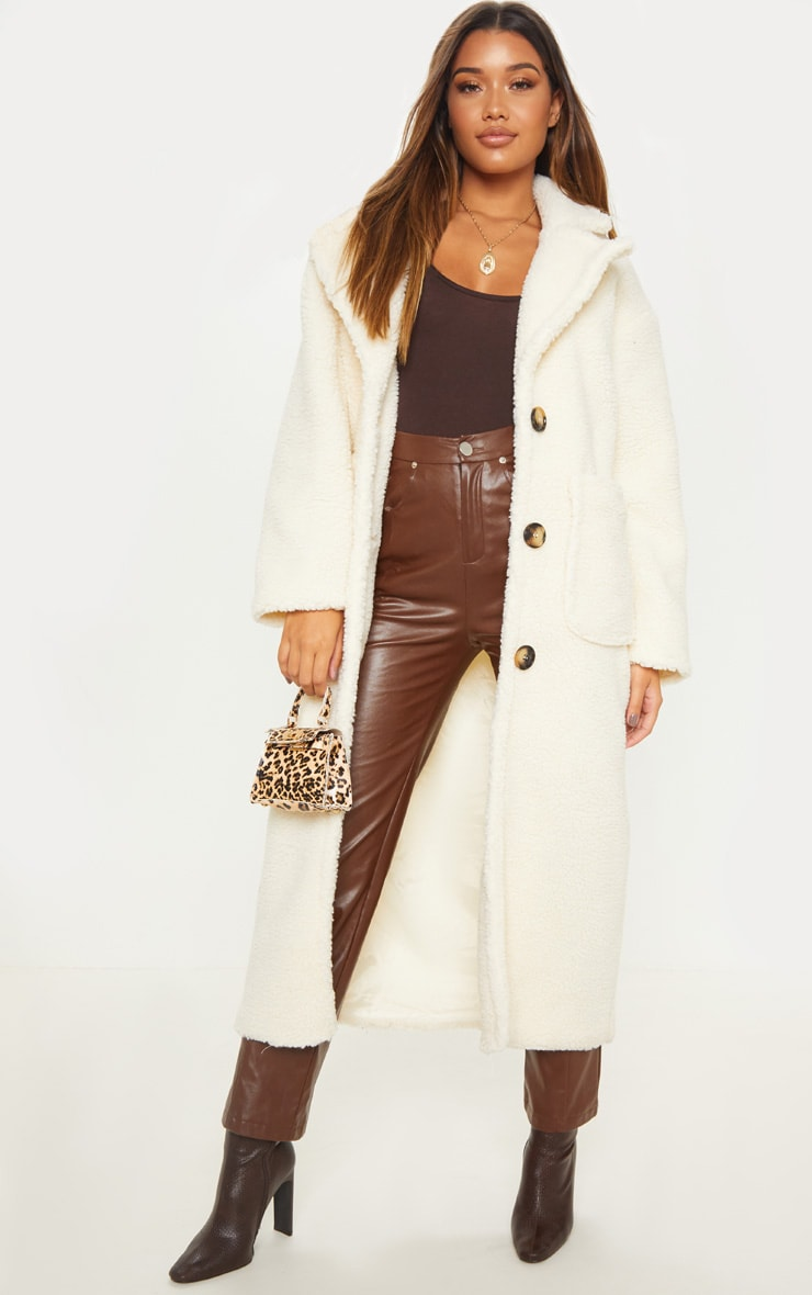 Cream Maxi Borg Coat 1