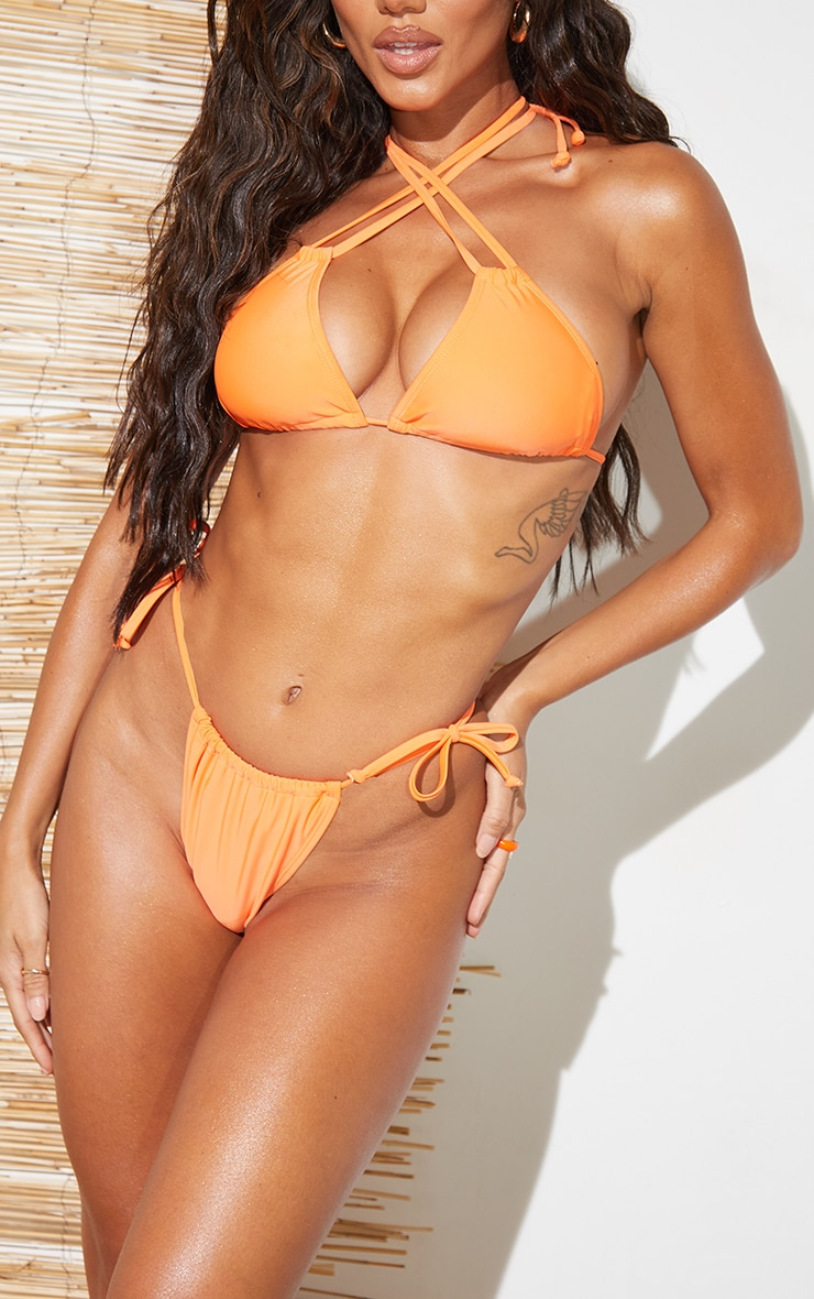 Recycled Orange Mix & Match Mini Ruched Tie Side Bikini Bottoms 1