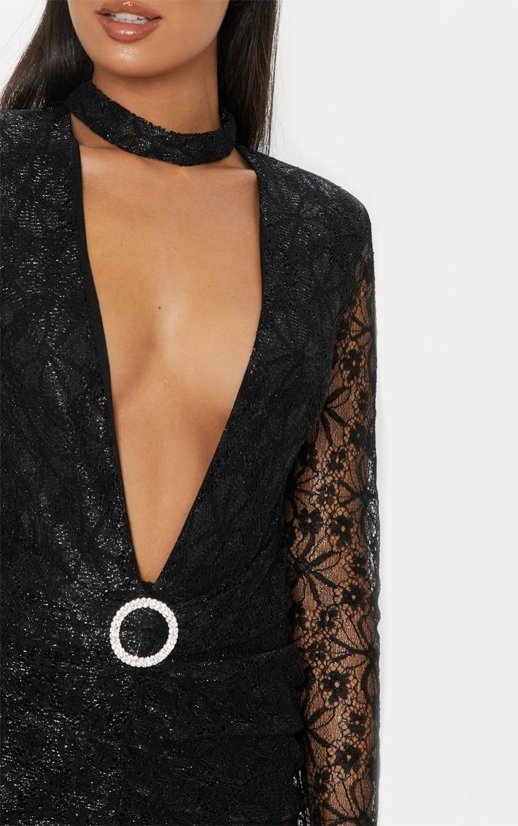 Black Lace High Neck Diamante Buckle Midi Dress 5