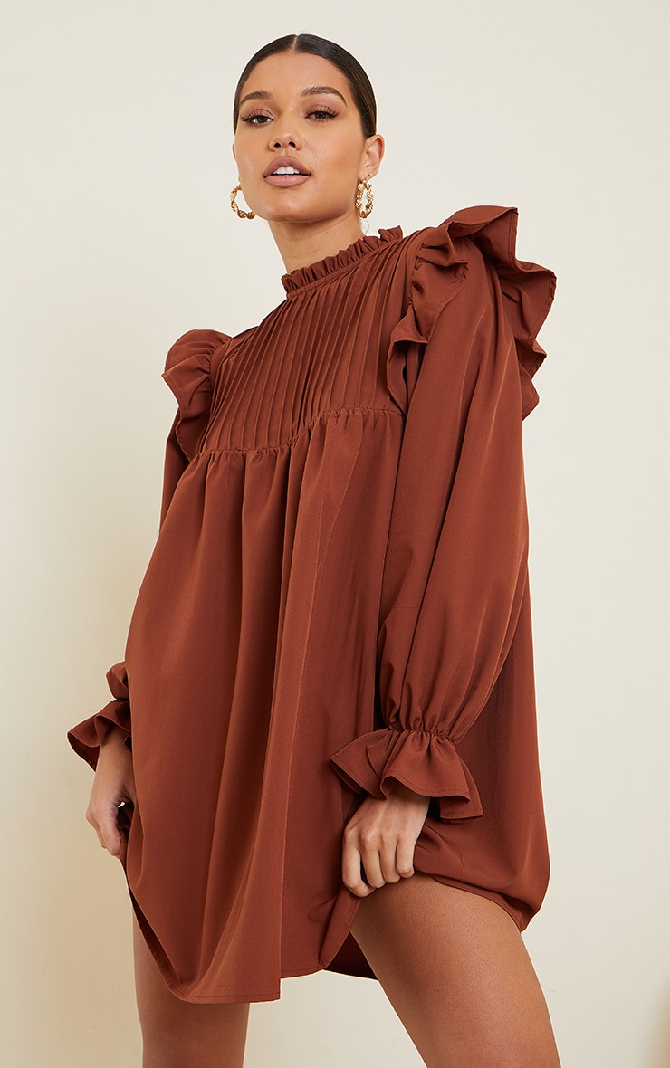 Chocolate Ruffle Binding Detail Shirt Dress 1