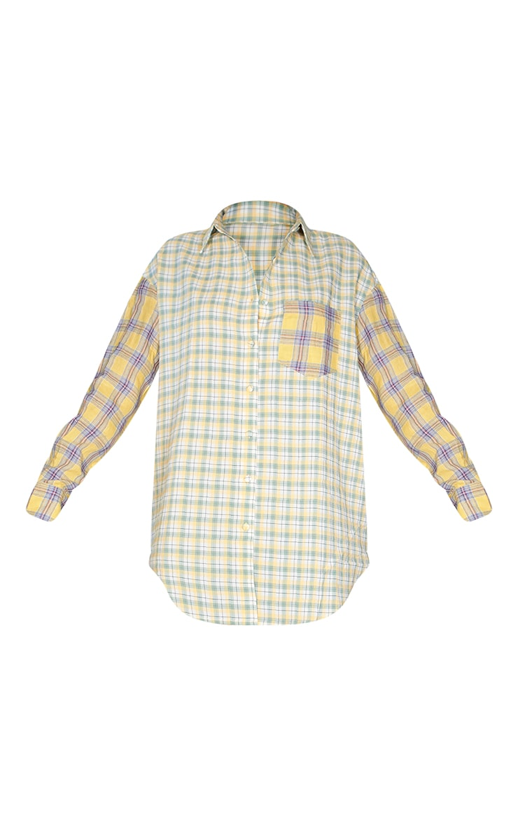 Yellow Contrast Check Shirt Dress 5