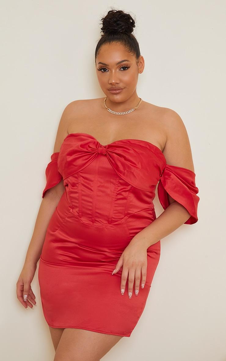 Plus Red Satin Bardot Corset Bodycon Dress 3