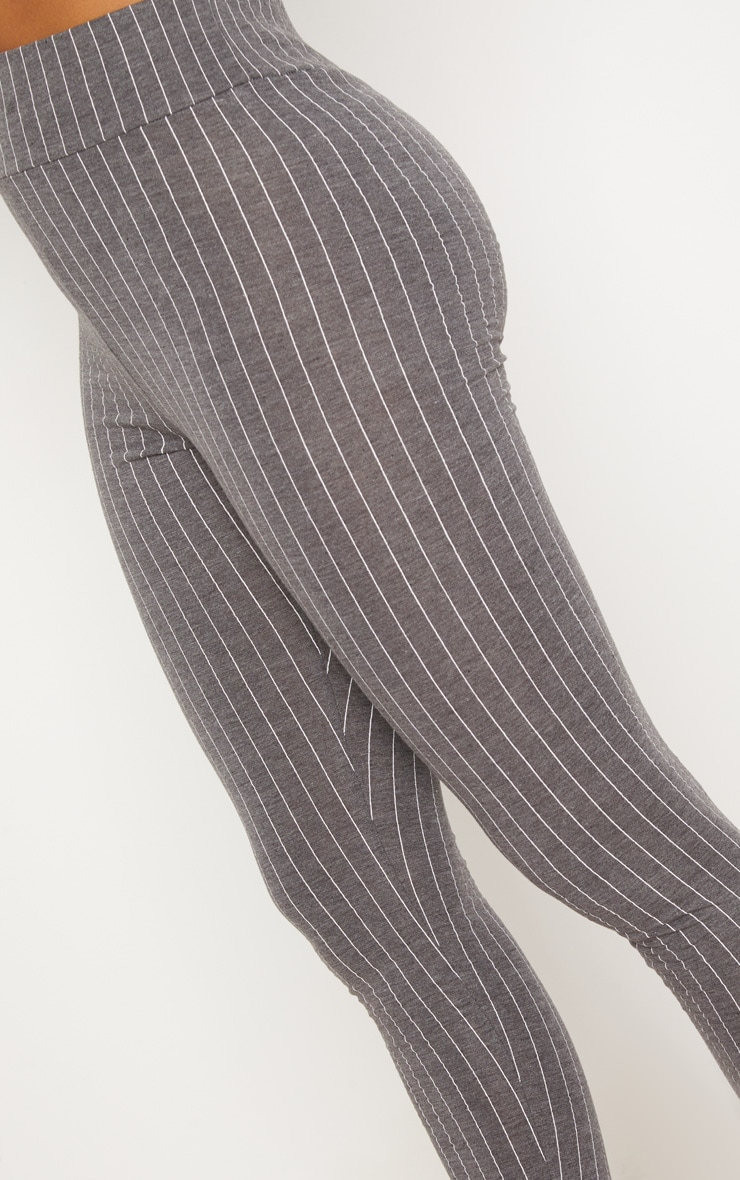 Grey Pinstripe High Waisted Legging  5