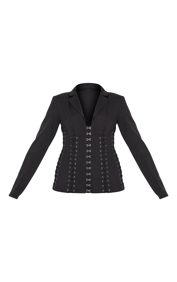 Black Boned Lace Up Corset Blazer 5