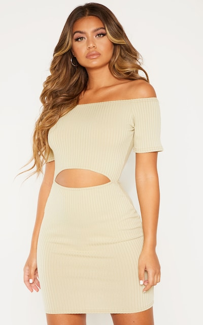 b3130f7eab2 Sage Green Ribbed Bardot Cut Out Bodycon Dress. More colours available
