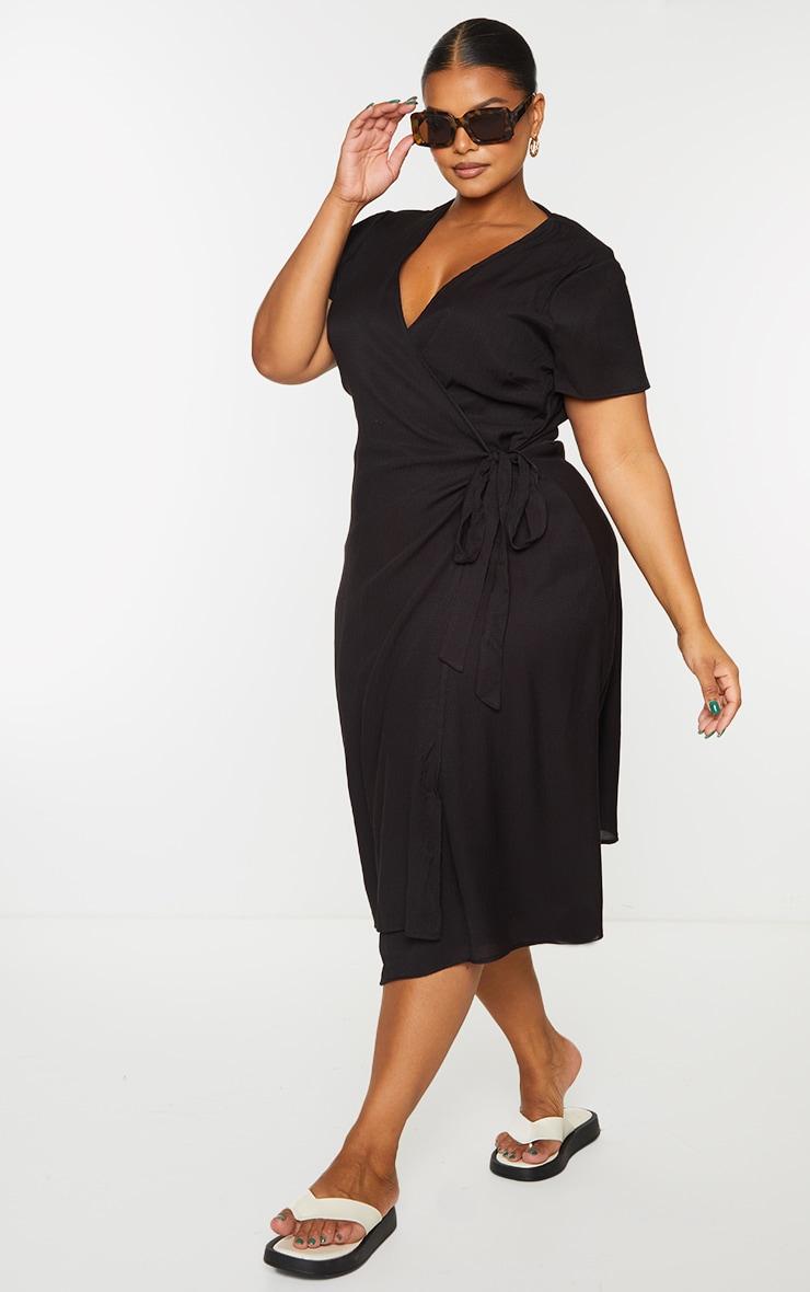 Plus Black Wrap Midi Dress 1