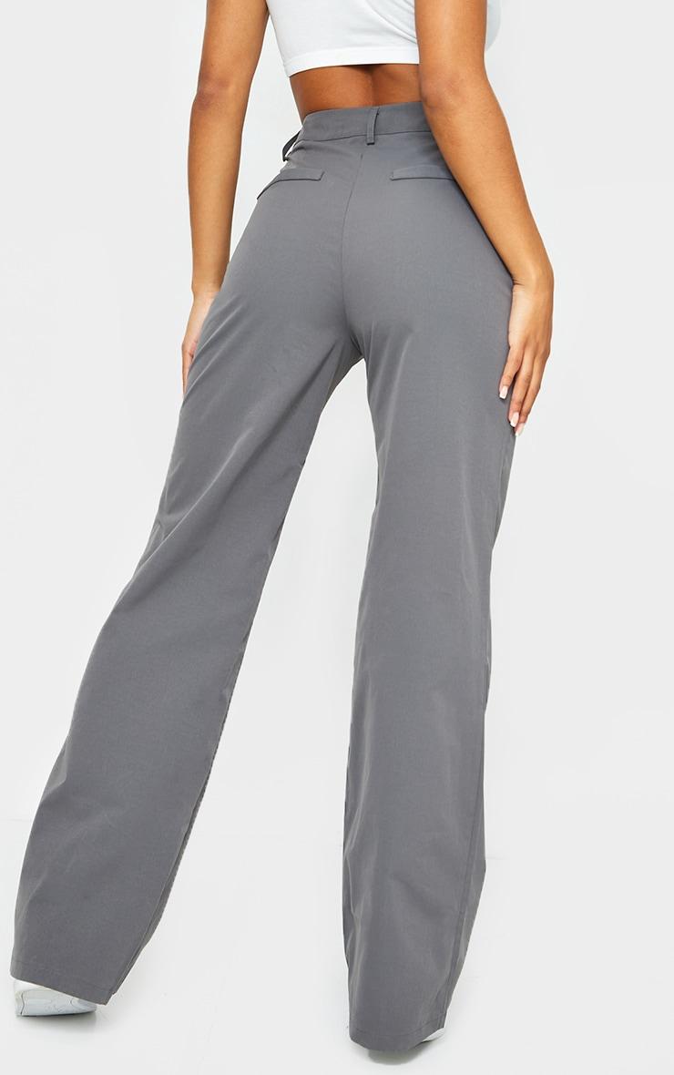 Charcoal Peach Skin Straight Leg Pants 3