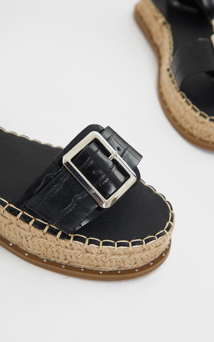 Black PU Croc Buckle Detail Espadrille Sandals 4