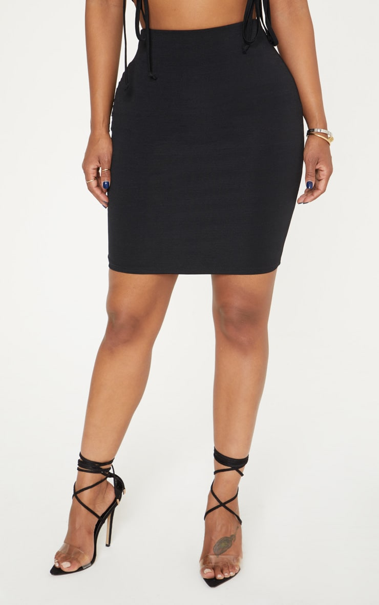 Shape Black Slinky Mini Skirt 2