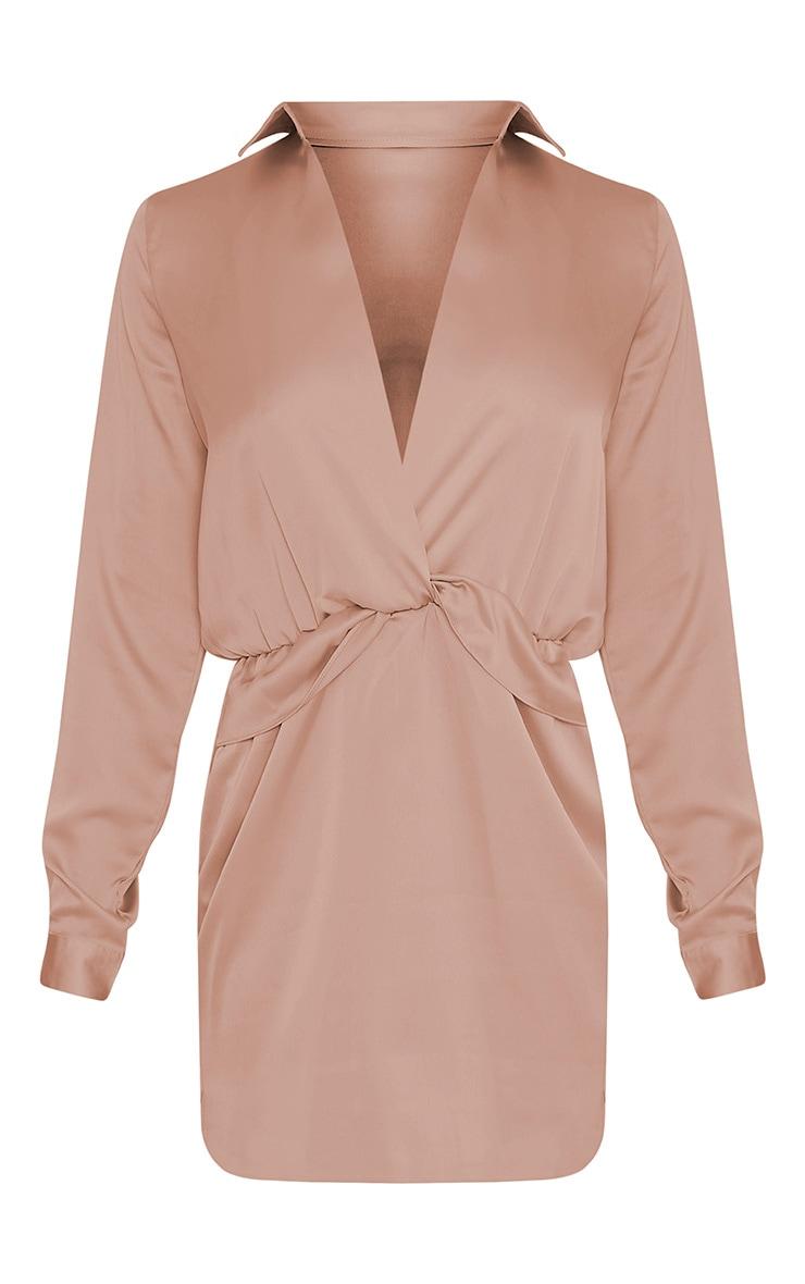 Katalea Mocha Twist Front Silky Shirt Dress 3