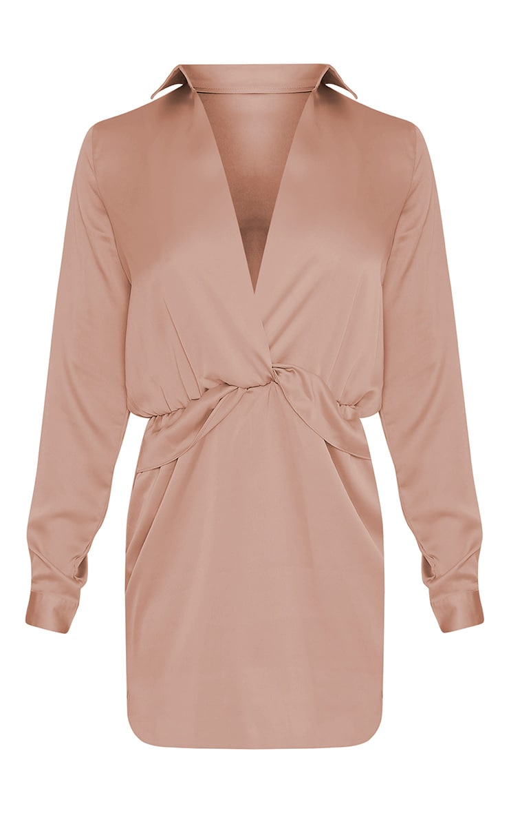 Katalea robe chemise moka en soie à devant torsadé 3