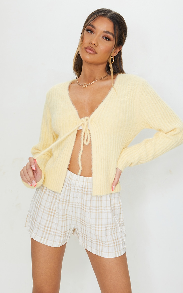 Yellow Premium Eyelash Tie Front Knitted Cardigan 3