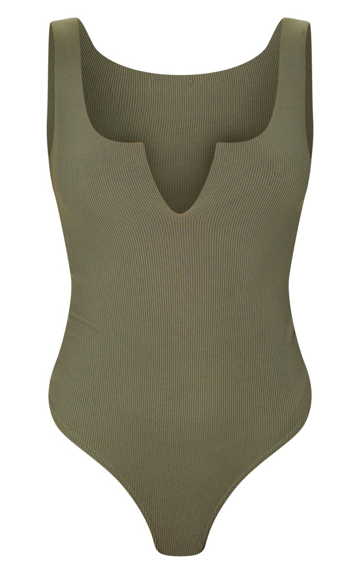 Sage Khaki Rib Raw V Sleeveless Bodysuit 3