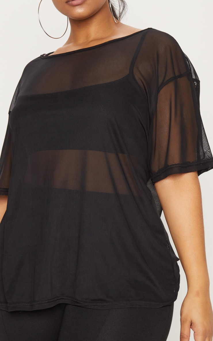 Plus Black Sheer Mesh Oversized T-Shirt 5