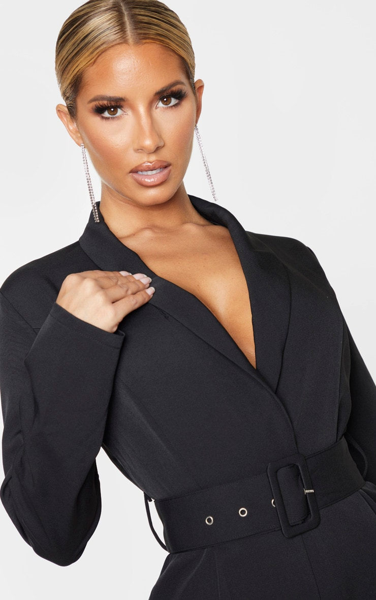 Black Lapel Detail Belted Jumpsuit 5