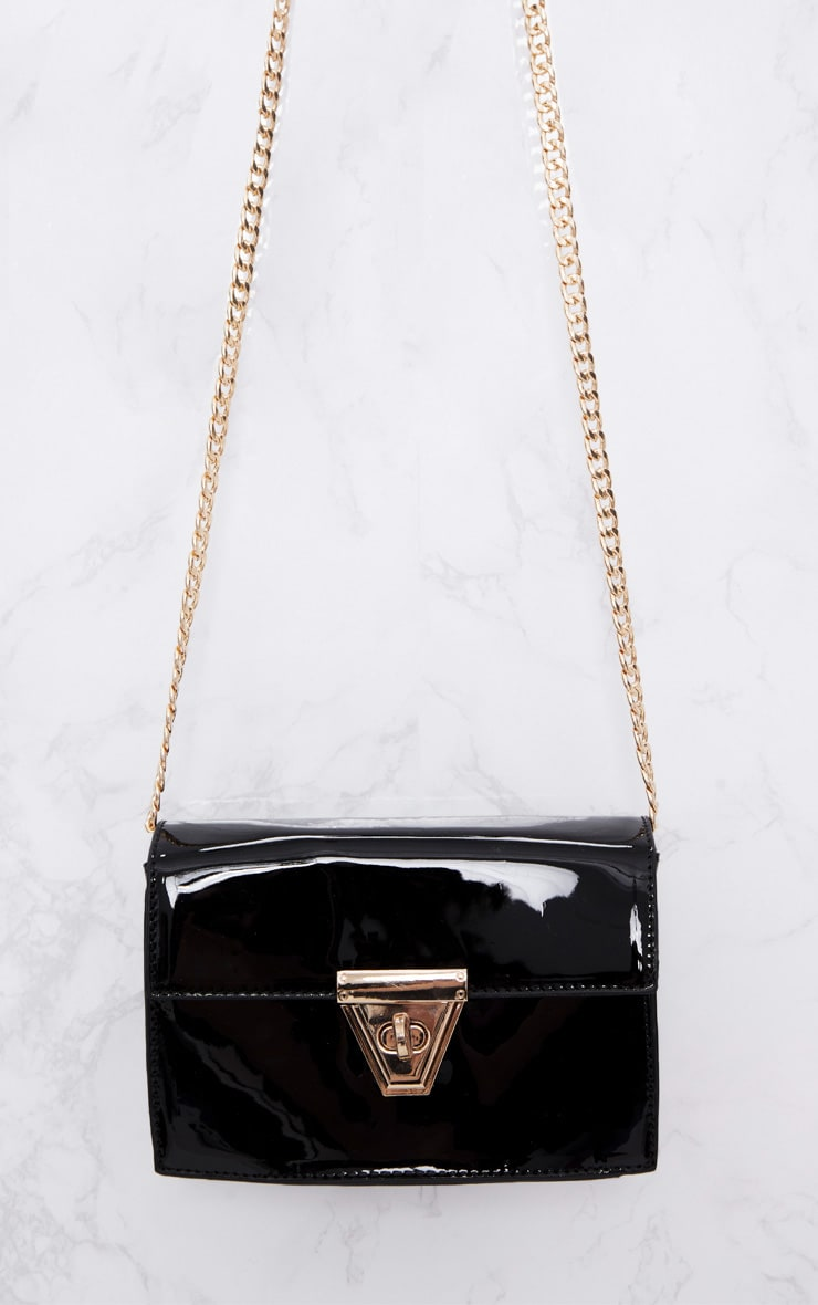Black Patent Clasp Chain Body Bag 3