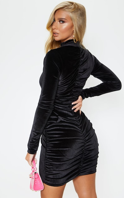Black Velvet Ruched Long Sleeve Bodycon Dress