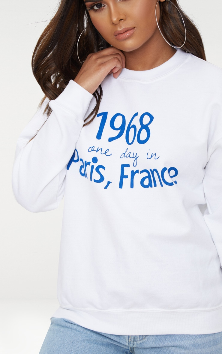 Petite White Paris Slogan Sweater 5