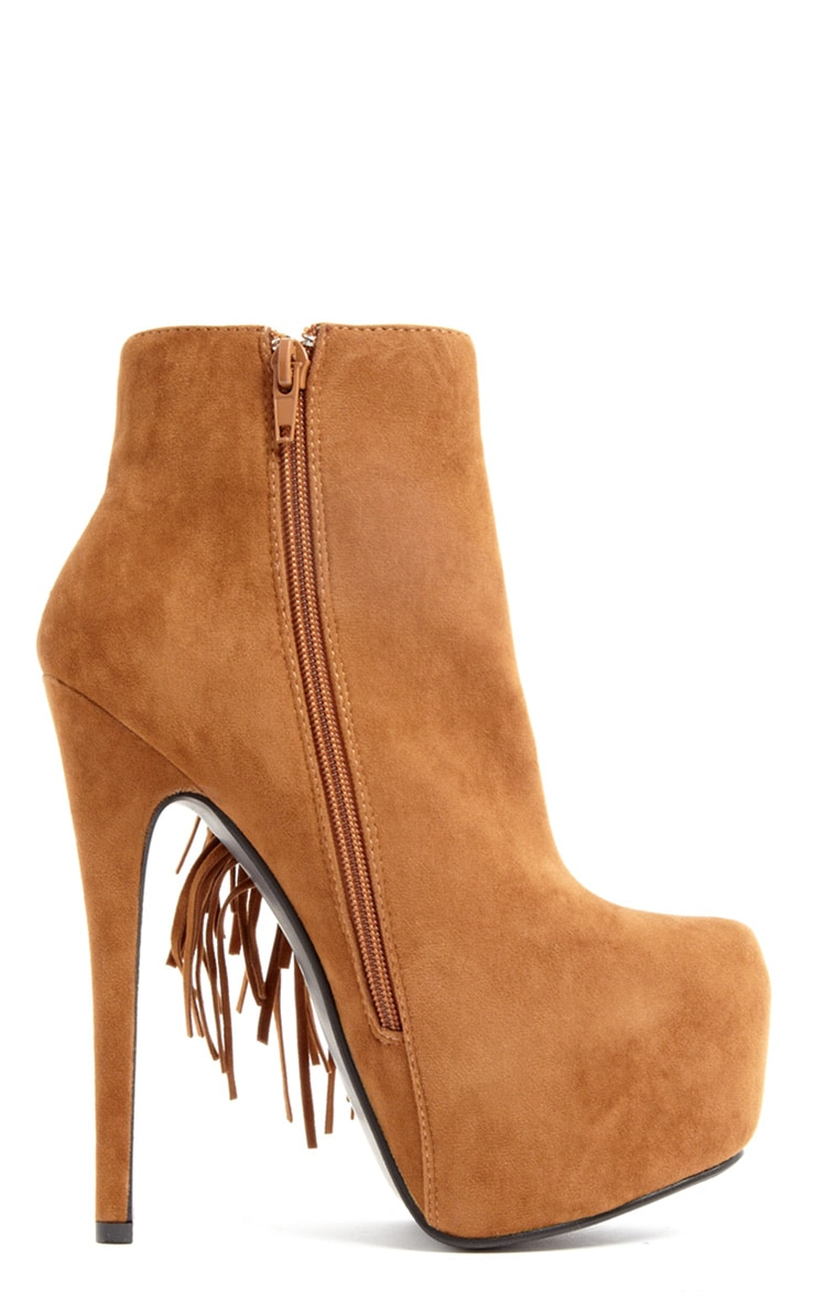 Ally Tan Fringe HIgh Heel Ankle Boots 2