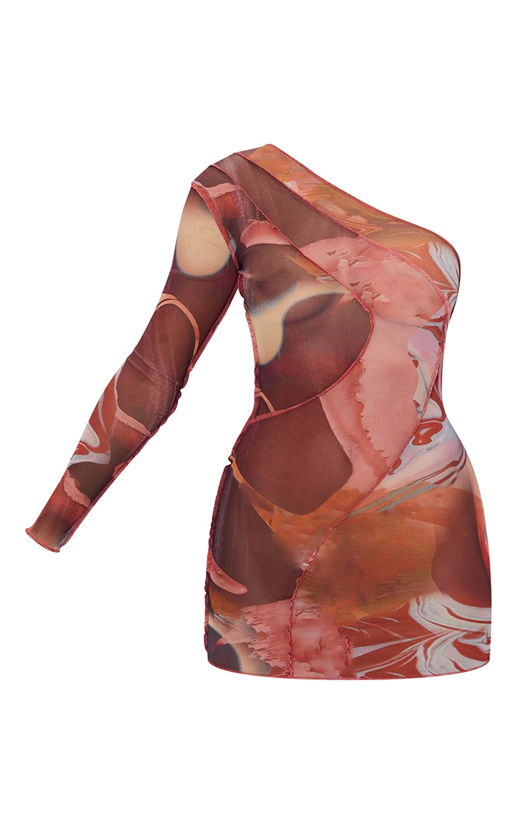 Pink Abstract Print Mesh Overlock Stitch One Shoulder Bodycon Dress 5