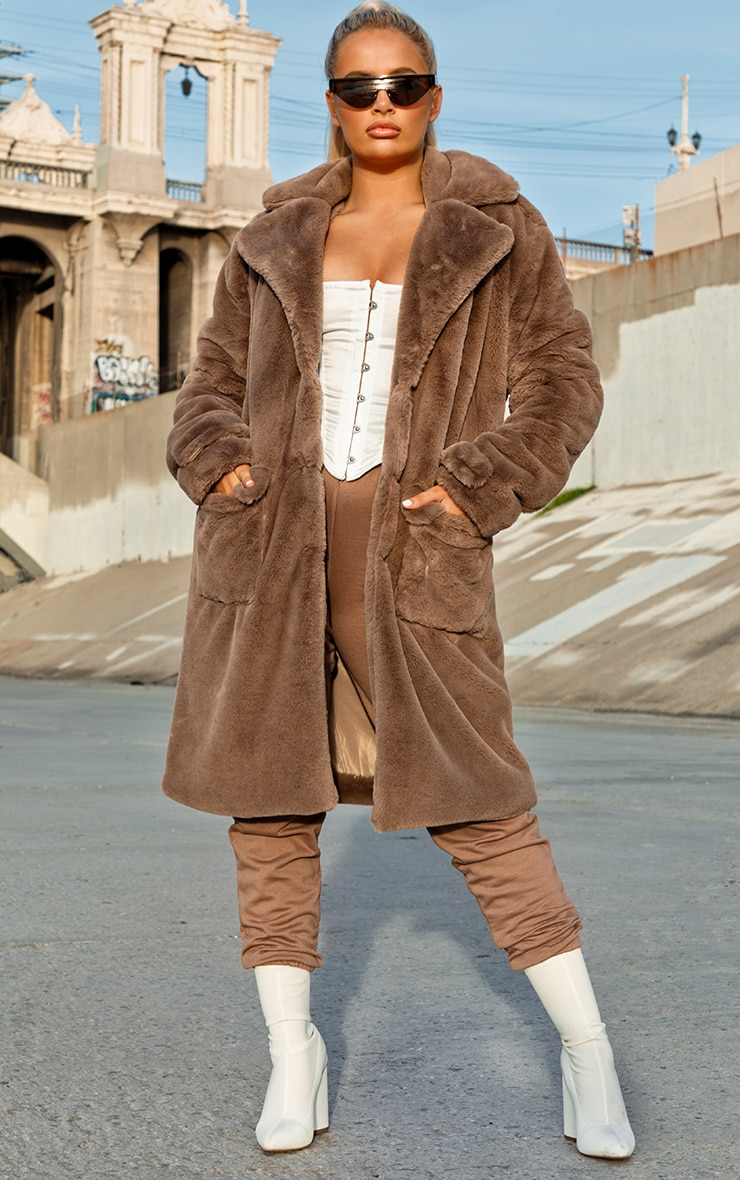 Taupe Faux Fur Military Coat